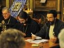 De droite à gauche: André Lossky (conférence), Mgr Joseph, Père Noël Tanazacq